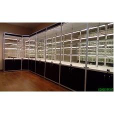 Профильные витрины для музея